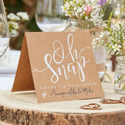 """Oh Snaps"" Wedding Table Signs - pack of 5"